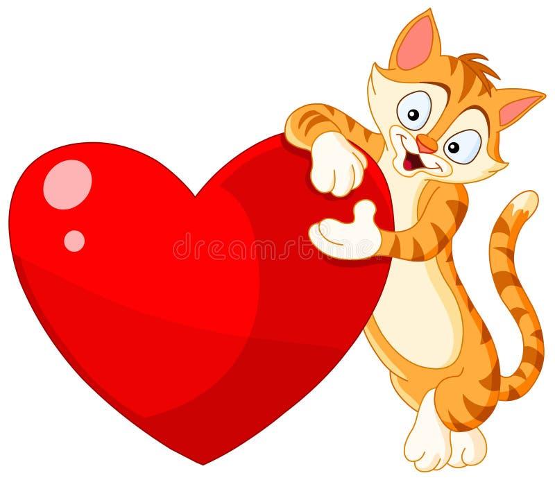 Katzeholdinginner-Valentinsgruß vektor abbildung