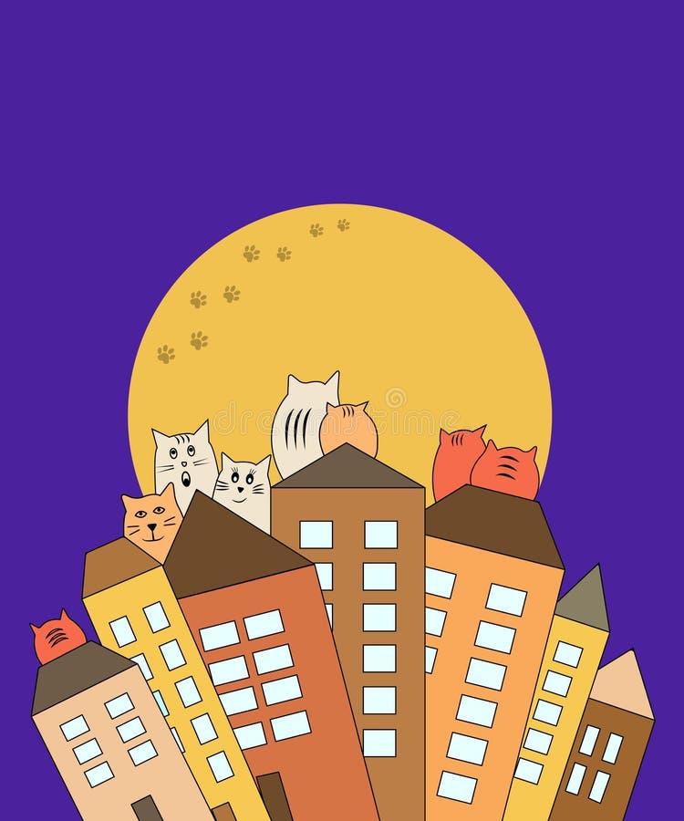 Katzen auf Dachspitzen mit Mondhintergrund, Vektor lizenzfreie abbildung