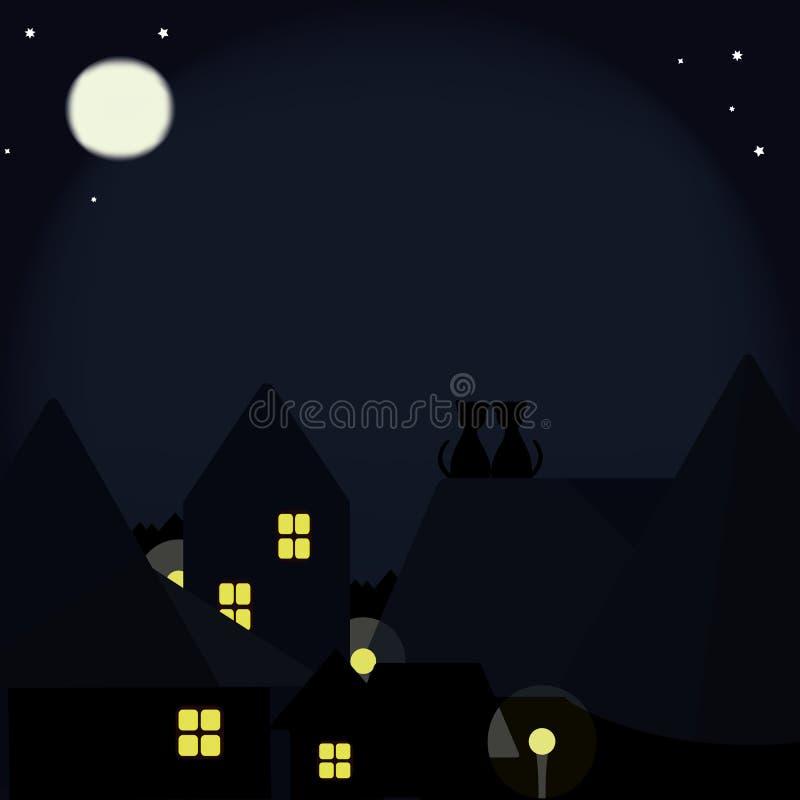 Katzen auf den Dächern der Nachtstadt stockfotografie