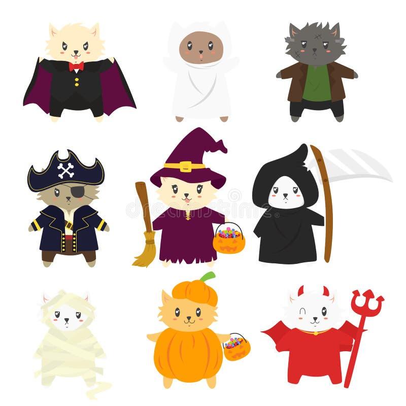 Katzen in der Halloween-Vektor-Sammlung lizenzfreie abbildung