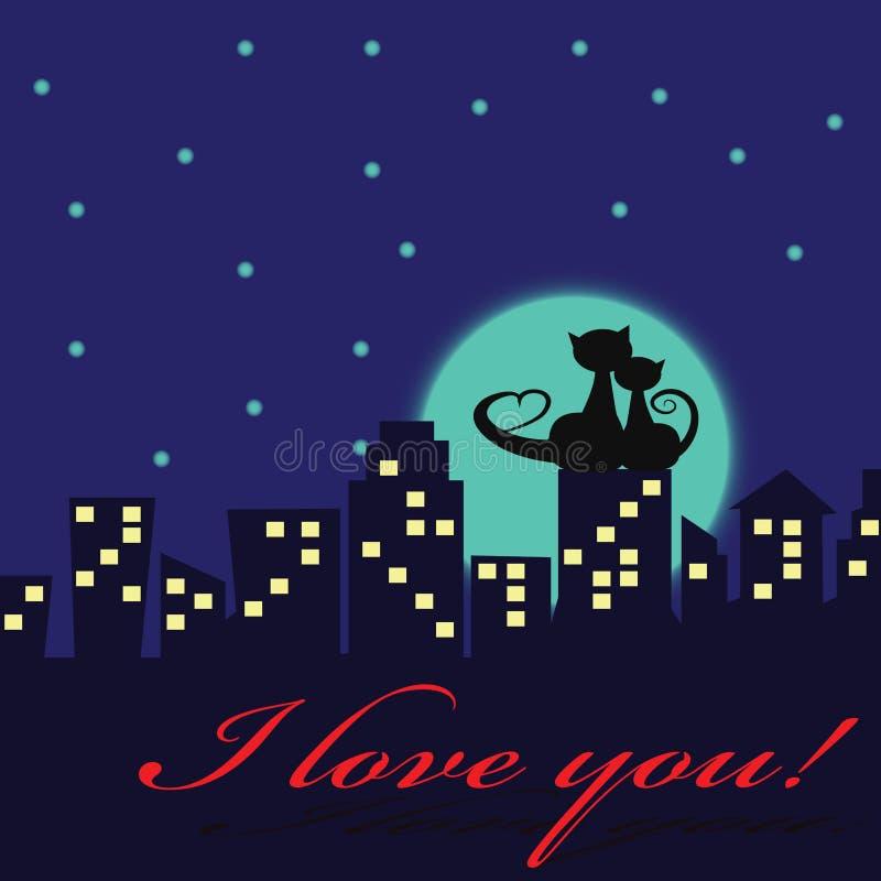 Katzen in der Liebe lizenzfreie abbildung