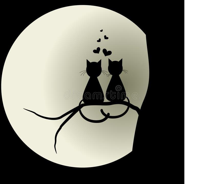 Katzen in der Liebe mit dem Mond geliebte Vektorillustrationskonzept lizenzfreie abbildung