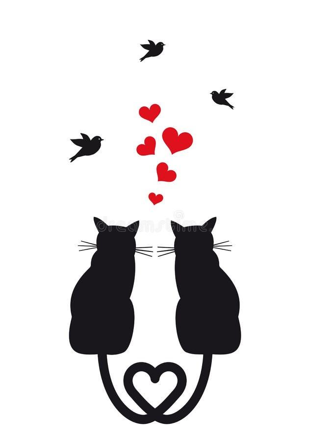 Katzen in der Liebe mit Herzen und Vögeln, Vektor vektor abbildung