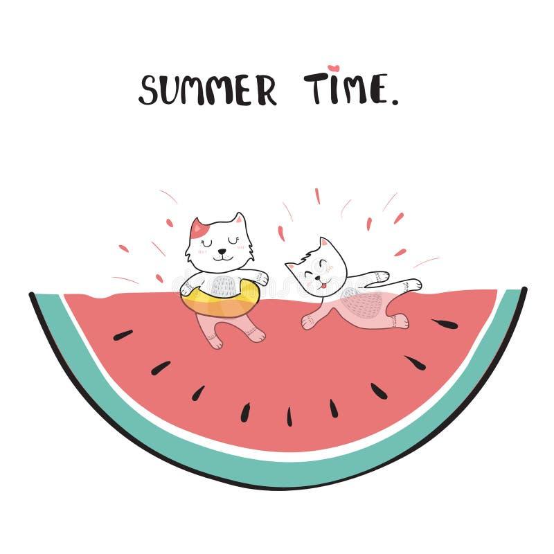 Katzen, die in der Wassermelonengekritzel-Handzeichnung schwimmen vektor abbildung