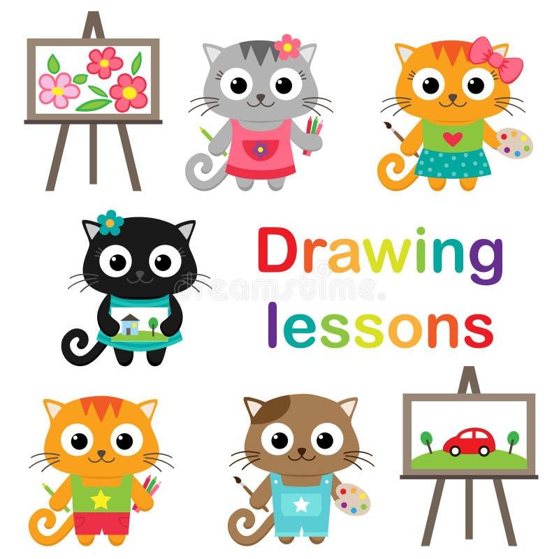 Katzen, die lernen zu zeichnen vektor abbildung