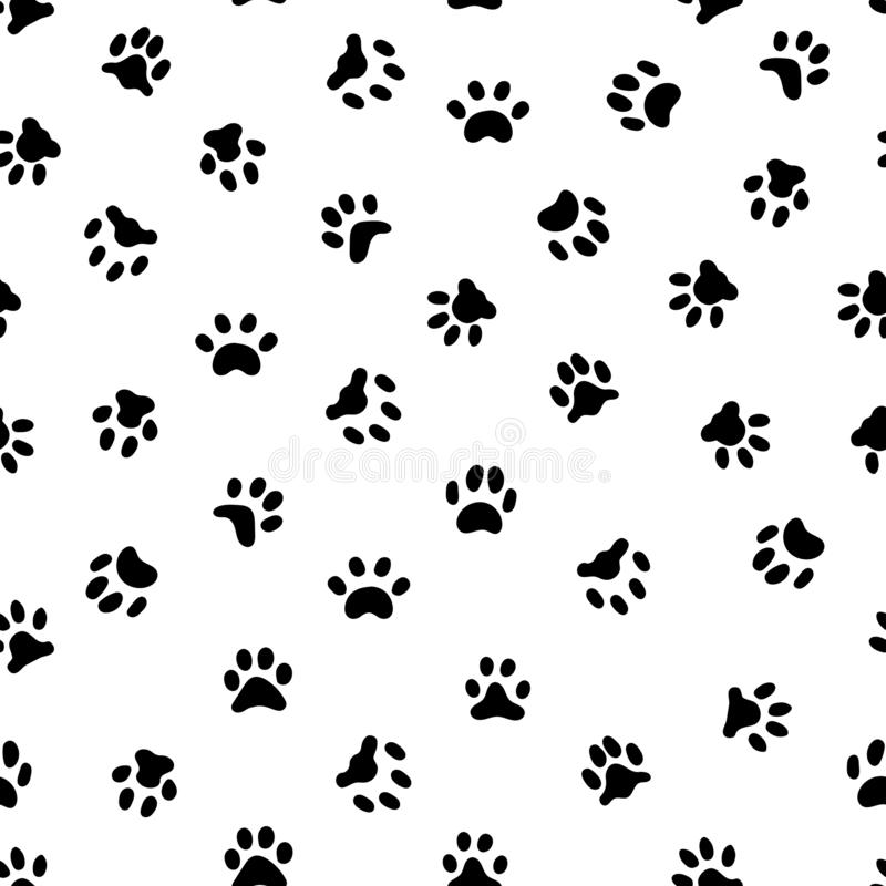 Katzen Paw Print Katzen- oder Hundetatzenschrittdrucke, Haustierabdrücke und Tierdruckschritt spürt nahtloses Muster auf vektor abbildung