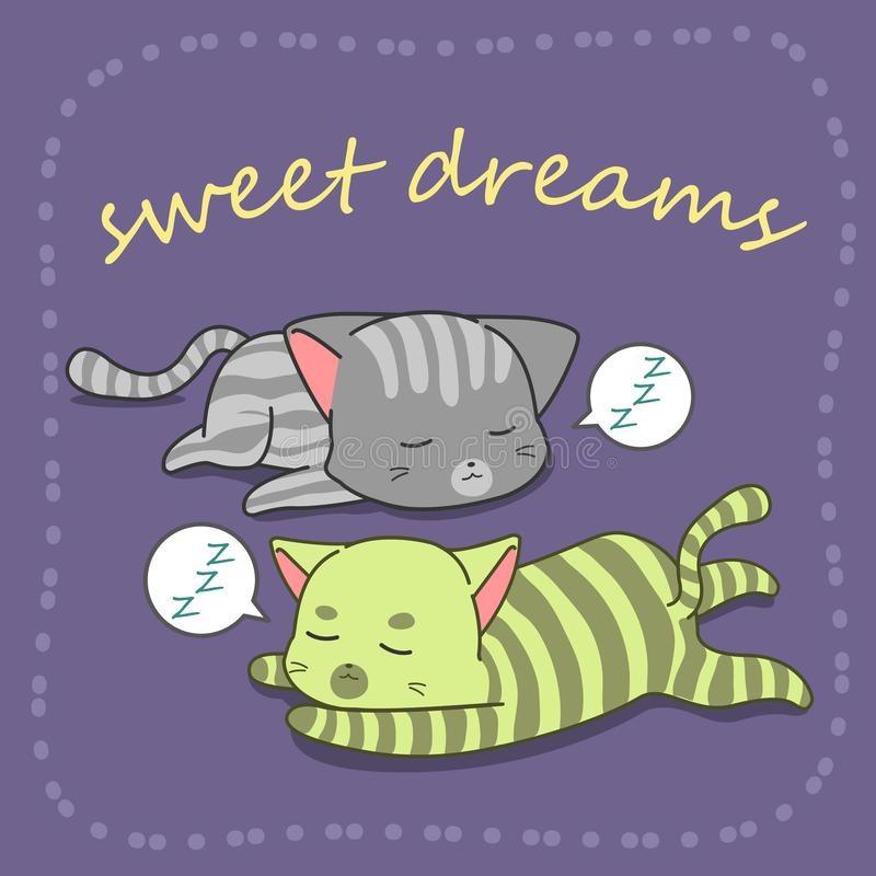 2 Katzen schlafen in der Karikaturart lizenzfreie stockfotografie