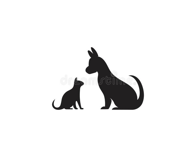 Katzen- und Hundevektorschattenbild-Logoschablone lizenzfreie abbildung