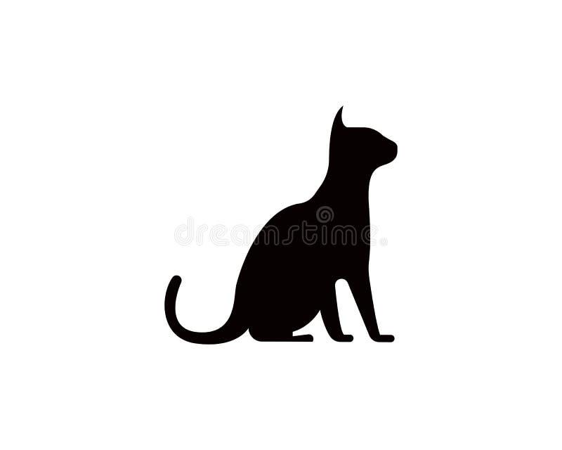 Katzen- und Hundevektorschattenbildlogo stock abbildung