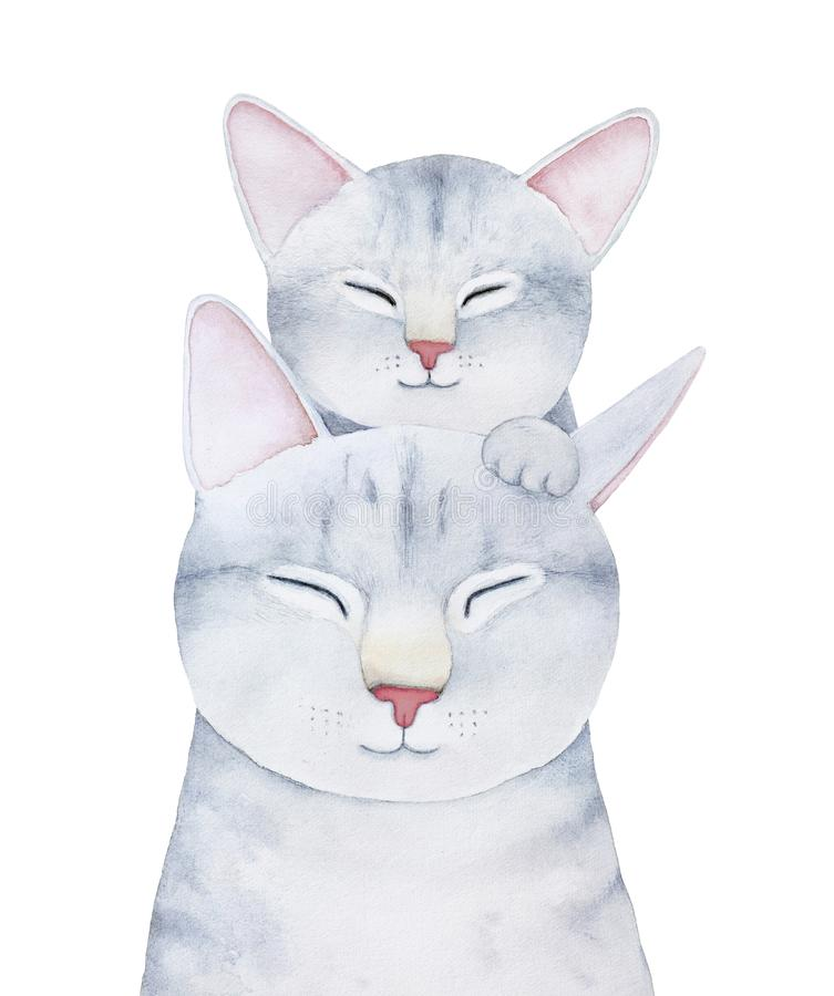 Katzen- und Kätzchenfamiliencharakterillustration stock abbildung