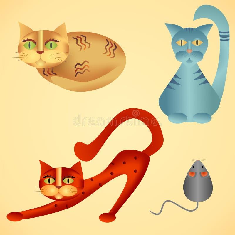 Katzen und Maus lizenzfreies stockfoto