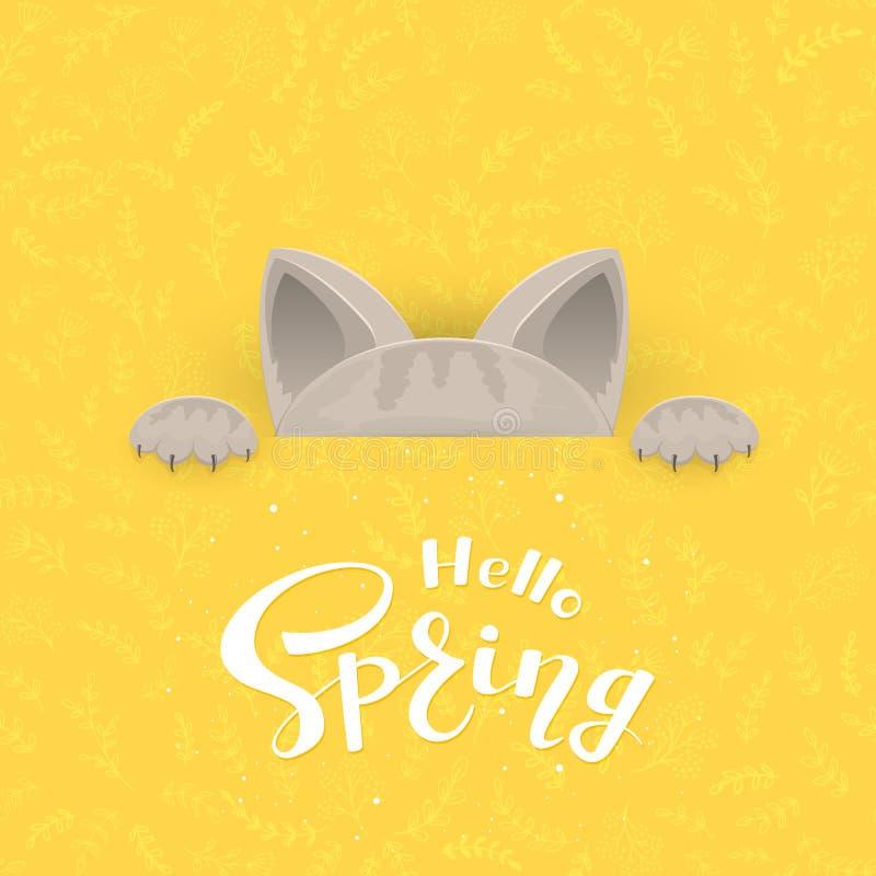 Katzen-und Text Frühling stock abbildung