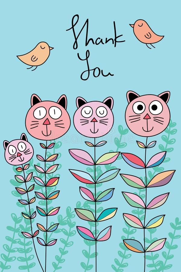 Katzenblumen-Karikaturvogel danken Ihnen zu kardieren lizenzfreie abbildung