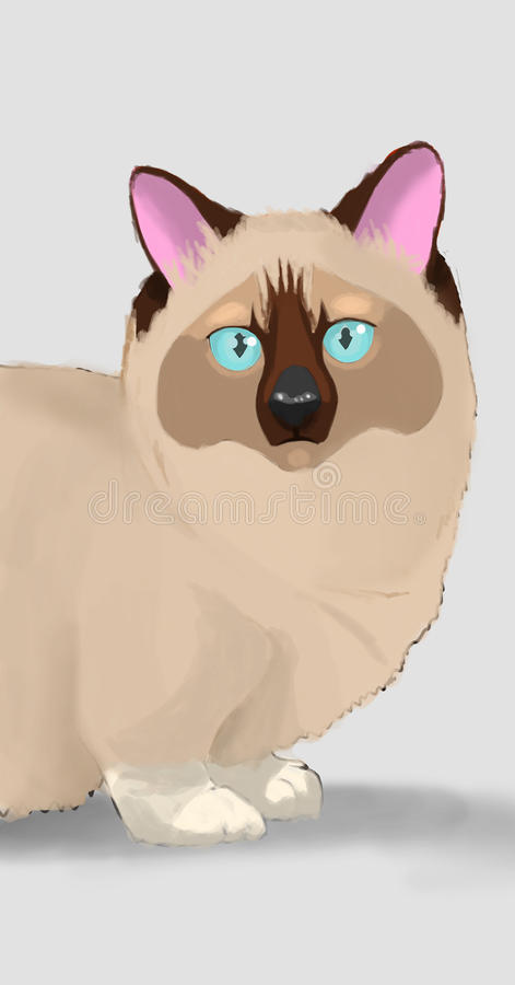Katzencharaktertier-Karikaturillustration lizenzfreie abbildung