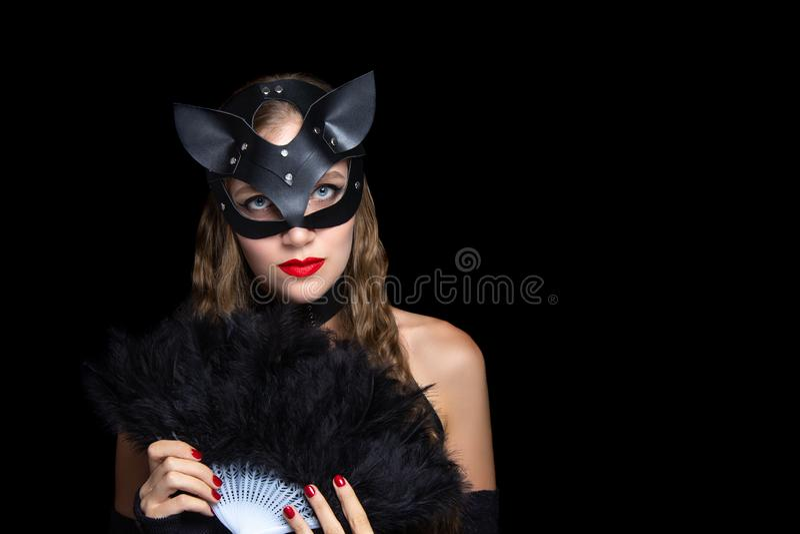 Katzenfrau bdsm Rollenspiel lizenzfreie stockbilder
