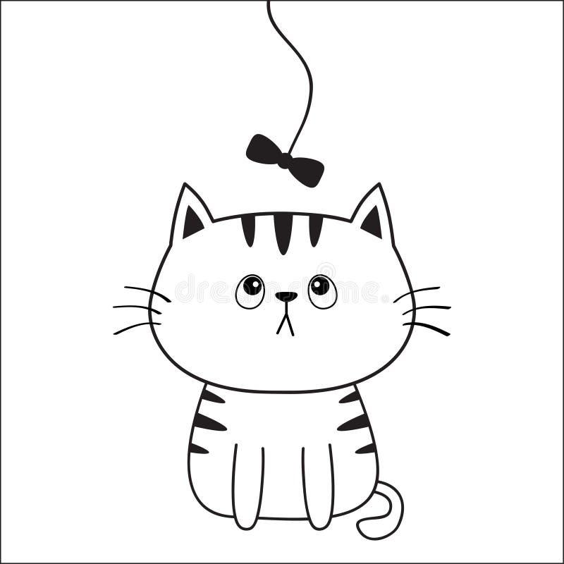 Katzenhauptgesichtsschattenbild, das Bogen betrachtet Tiefenlinie Sitzender Miezekatzecharakter der netten Karikatur Kawaii-Tier  vektor abbildung