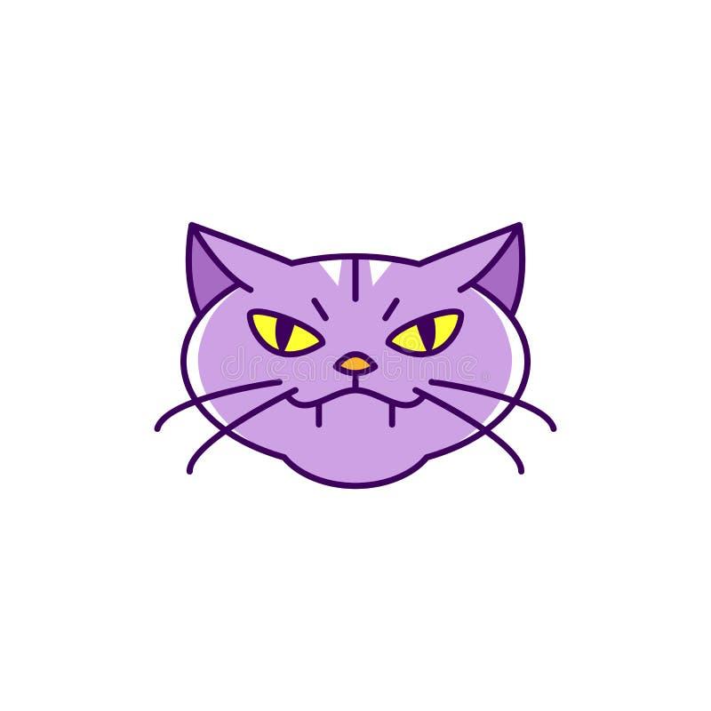 Katzenhexenikone, verärgerte Katze Bunte flache Halloween-Katzenikone, dünne Linie Kunstdesign, Vektorillustration vektor abbildung