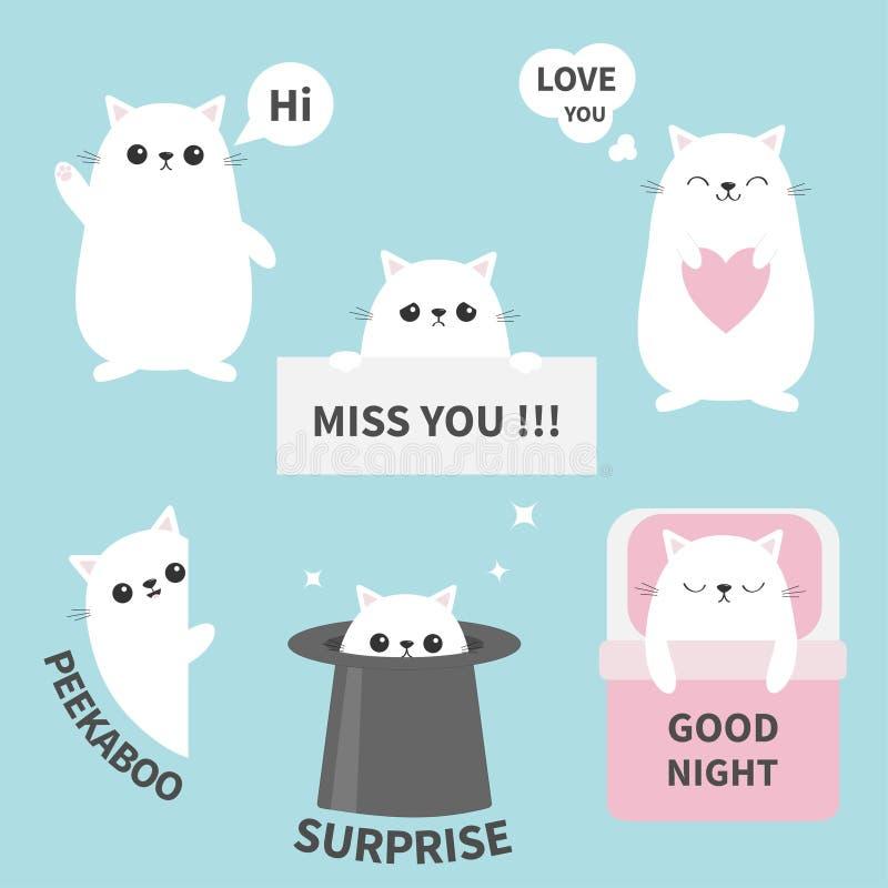 Katzenkätzchenaufklebergefühl emoji Ikonensatz Fräulein Sie Hallo Gute Nacht, lieben Sie Lustiges Hauptgesicht Nette Zeichentrick stock abbildung