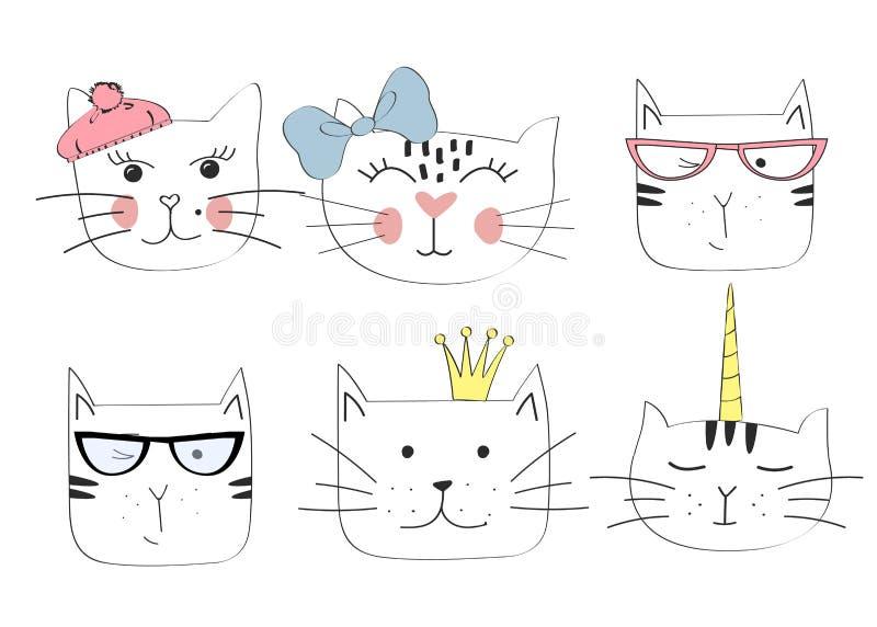 Katzenköpfe Emoticonsvektor vektor abbildung