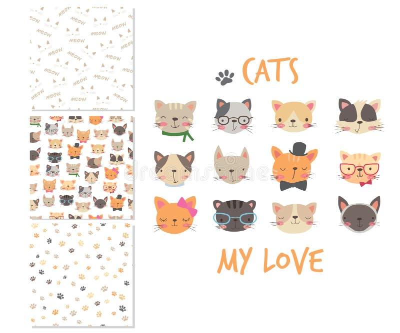 Katzenköpfe Karikaturoberflächendesign und 3 nahtlose Muster lizenzfreie abbildung