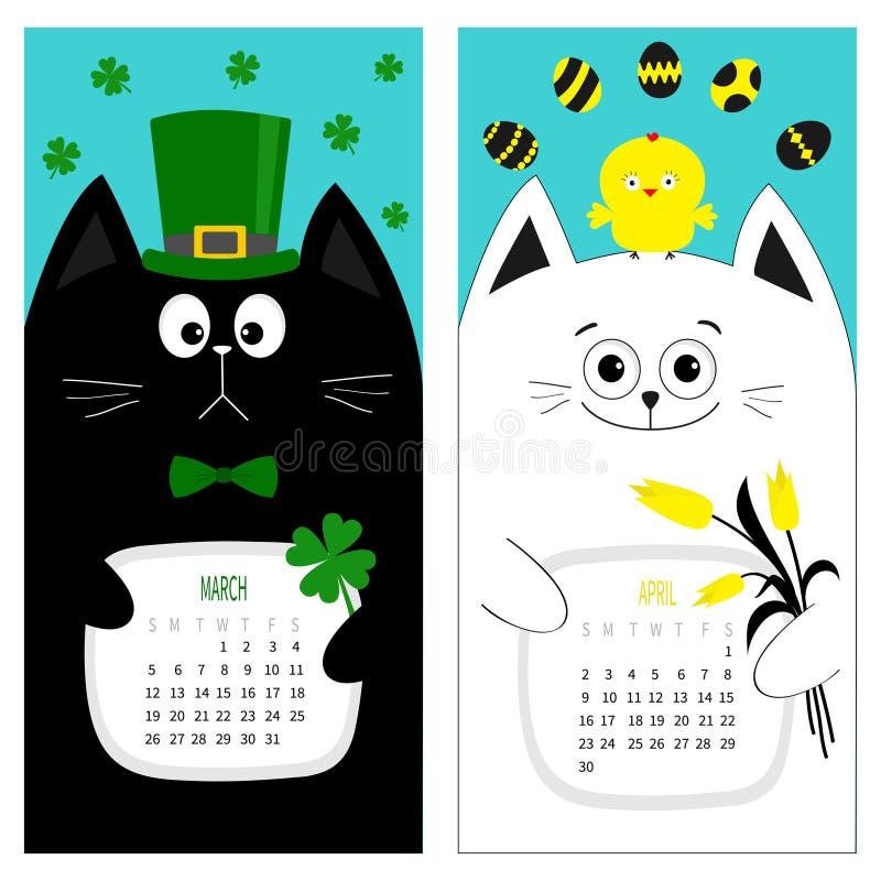 Katzenkalender 2017 Netter lustiger Karikaturzeichensatz Frühlingsmonat Märzes April Grüne Hutbindungs-Bogenhühnerei Hängendes Kl stock abbildung