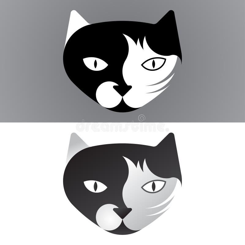 Katzenlogoschablone, -zeichen oder -ikone gemacht mit Prinzipien des goldenen Schnitts lizenzfreie abbildung
