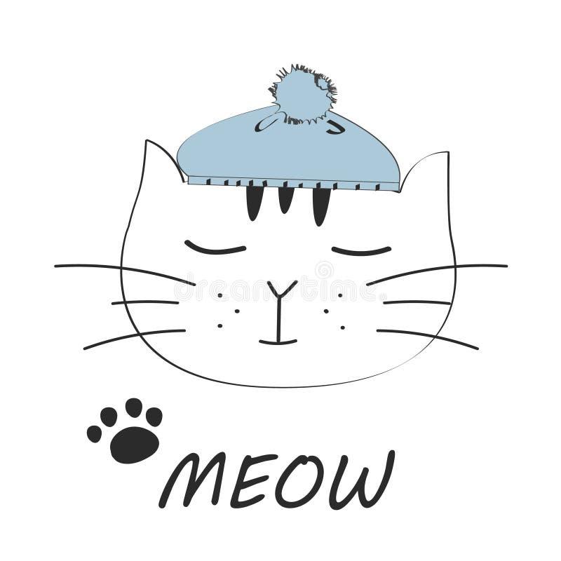 Katzenmiauenvektor-Illustrationszeichnung mit Schreiben, schwarze Entwürfe von Katze ` s Kopf, Katzenschnauze mit den Ohren, Bärt lizenzfreie abbildung