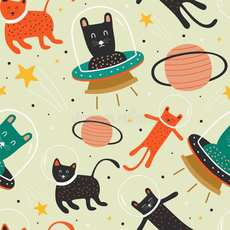 Katzenmuster mit UFO Astronauten- und Planetenhintergrunddekoration für Baby- und Kindermodetextildruck lizenzfreie abbildung