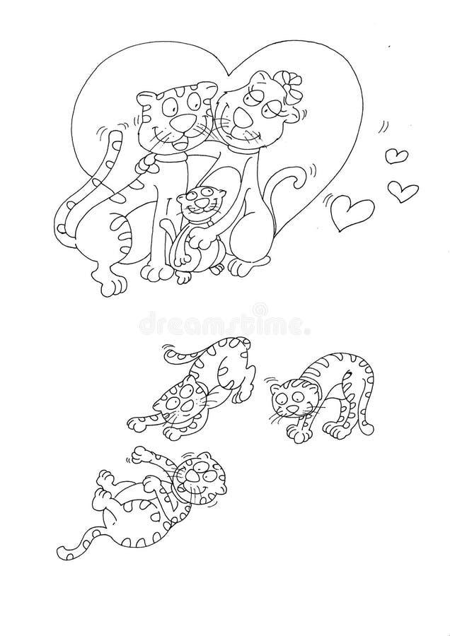 Katzenmutter Und -vati Lieben Katze Mit Ihrem Sohnrippenstück, Das ...