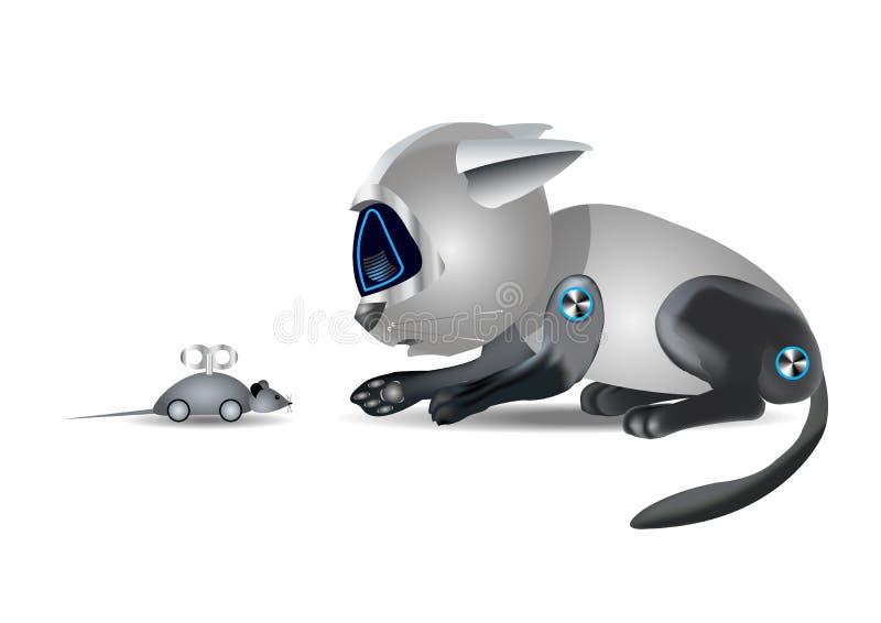 Katzenroboter und Maus, lustiges Spielzeug, auf weißem Hintergrund, Illustration vektor abbildung