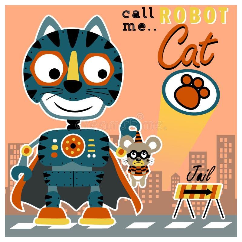Katzenroboterkarikatur lizenzfreie abbildung