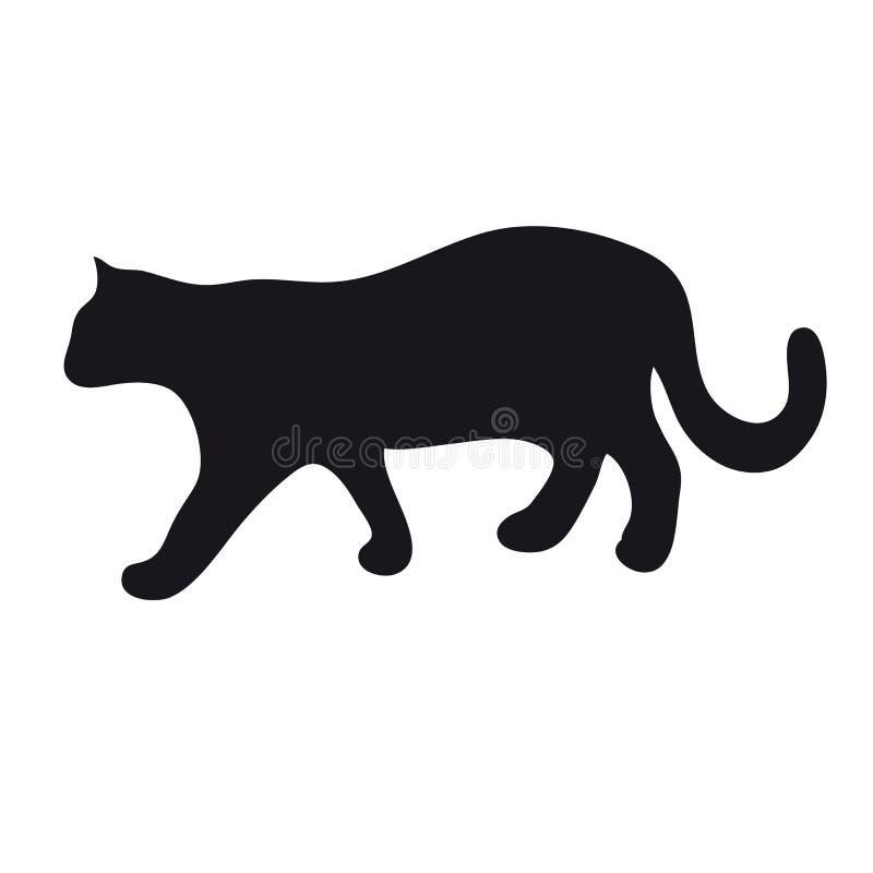 Katzenschattenbild auf einem weißen Hintergrund vektor abbildung