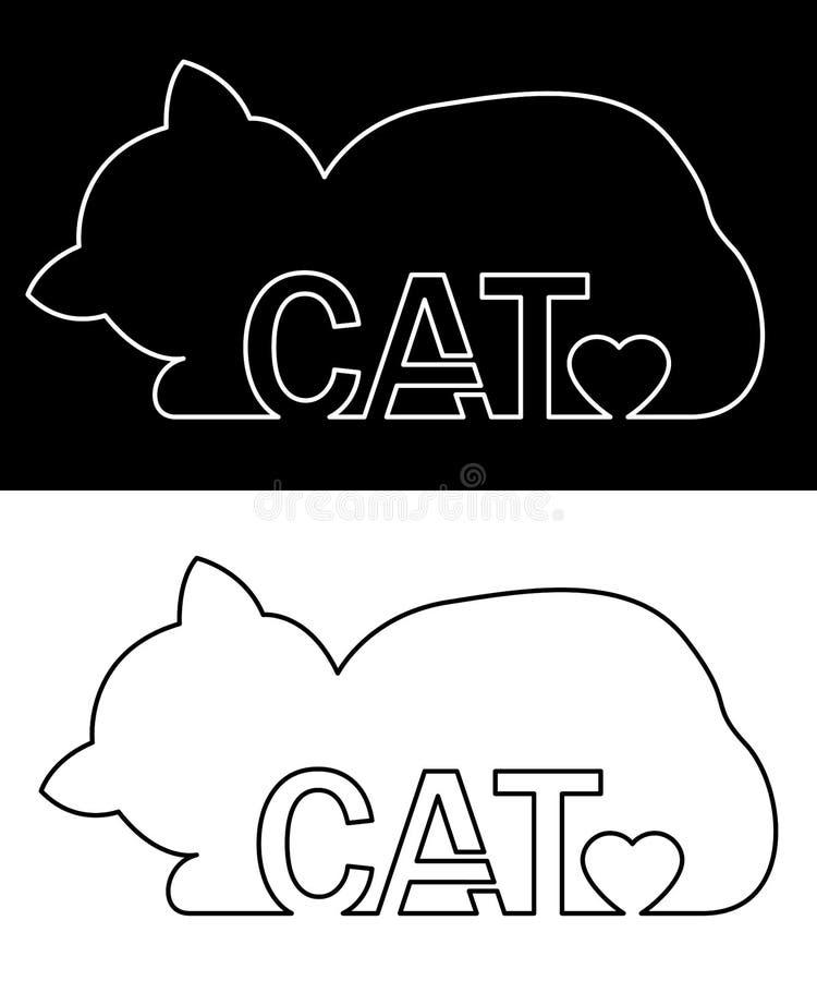 Katzenschattenbild mit Herzen Vektor-Hintergrund-Illustration lizenzfreie abbildung