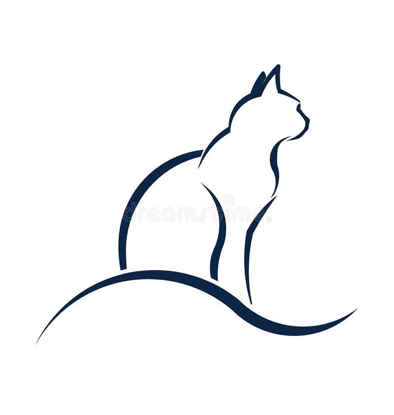 Katzenschattenbild mit Welle lizenzfreie abbildung