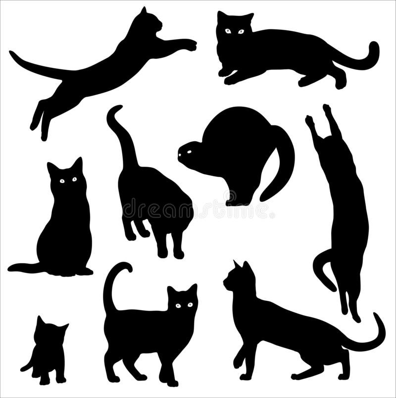 Katzenschattenbild-Vektorsatz lokalisiert auf wei?em Hintergrund stock abbildung
