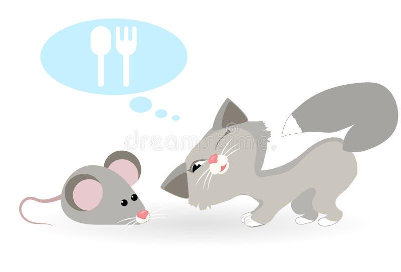 Katzenträume der Maus Katze möchte Maus essen stockfotografie