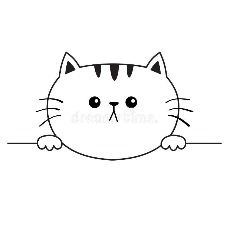 Katzentraurige Hauptgesichts-Schattenbildikone Übergibt Tatzenholding Tiefenlinie Netter Karikaturmiezekatzecharakter Kawaii-Tier stock abbildung