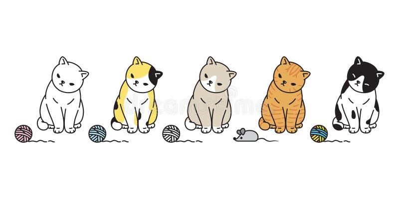 Katzenvektorkätzchenkalikoikonenlogomäuserattenspielzeugsymbolzeichentrickfilm-figur-Illustrations-Gekritzelentwurf stock abbildung