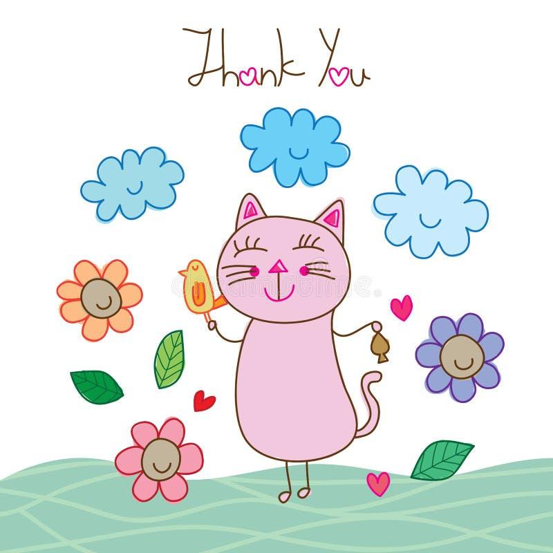 Katzenvogellächeln dankt Ihnen Karte stock abbildung
