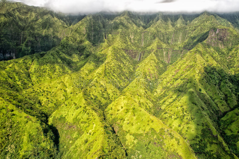 Kauai green mountain aerial view stock image