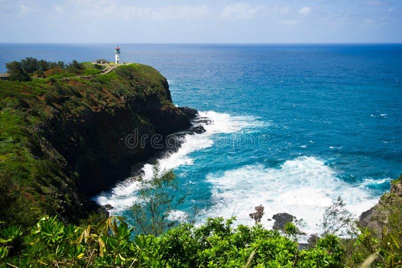 Kauai lighthouse kilauea point. Beautiful day to Kauai, Hawaii royalty free stock photography