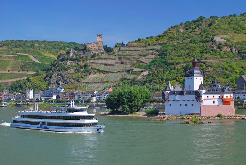 Kaub, château, vallée du Rhin, Allemagne photographie stock