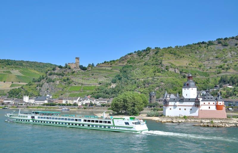 Kaub, Rhine River, Alemanha fotografia de stock