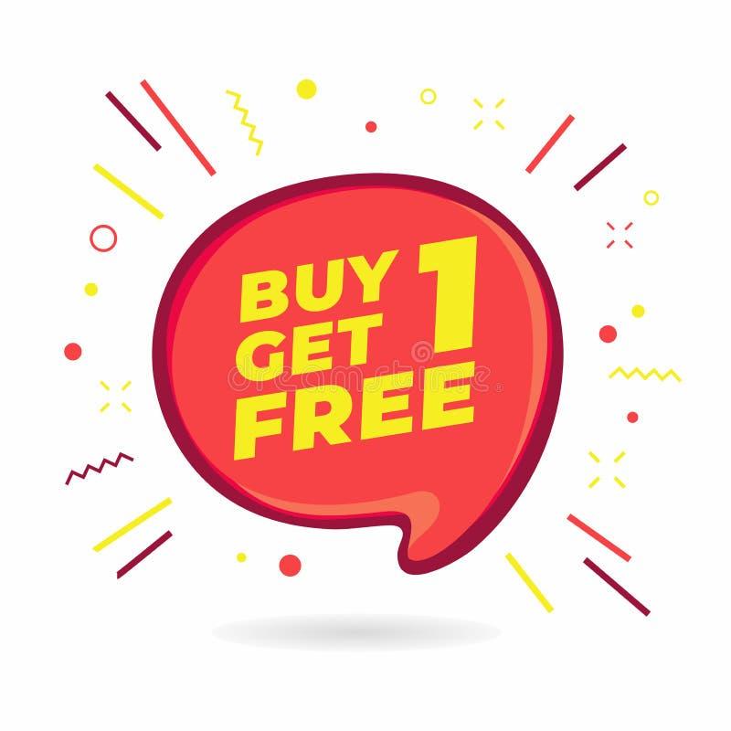 Kauf 1 erhalten 1 frei, Verkaufssprache-Blasenfahne, Rabatttag-Designschablone lizenzfreie abbildung