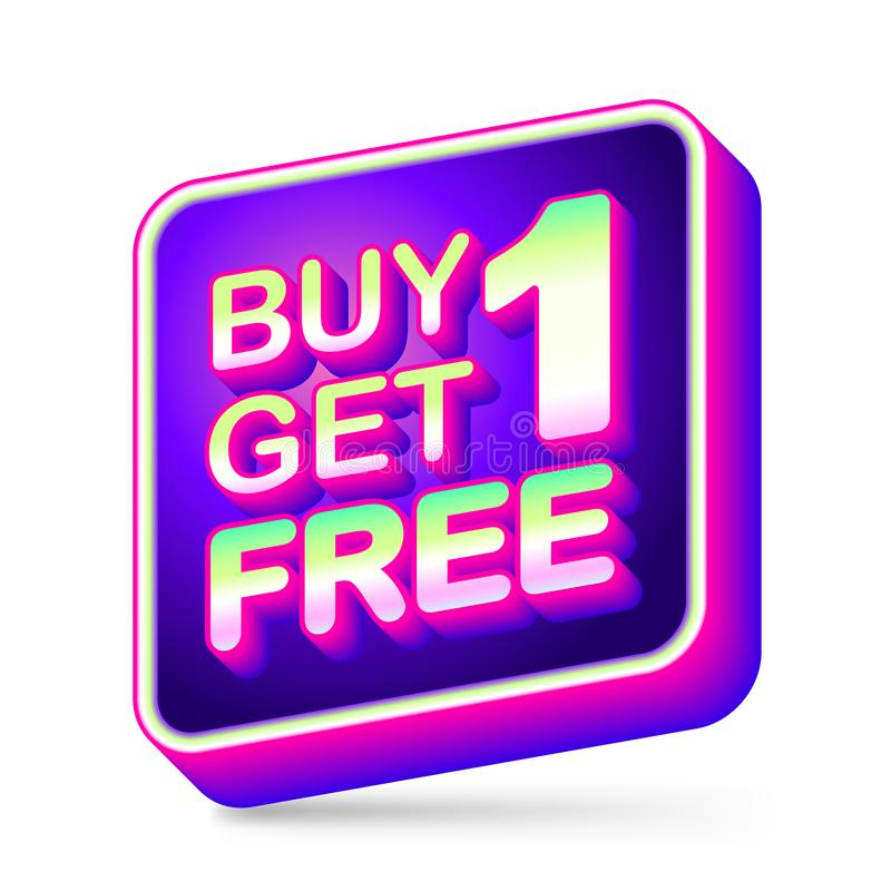 Kauf 1 erhalten 1 frei, Verkaufsumbau, Appikone, Neonfarbe 3D rundete Eckformkasten auf weißem Hintergrund vektor abbildung