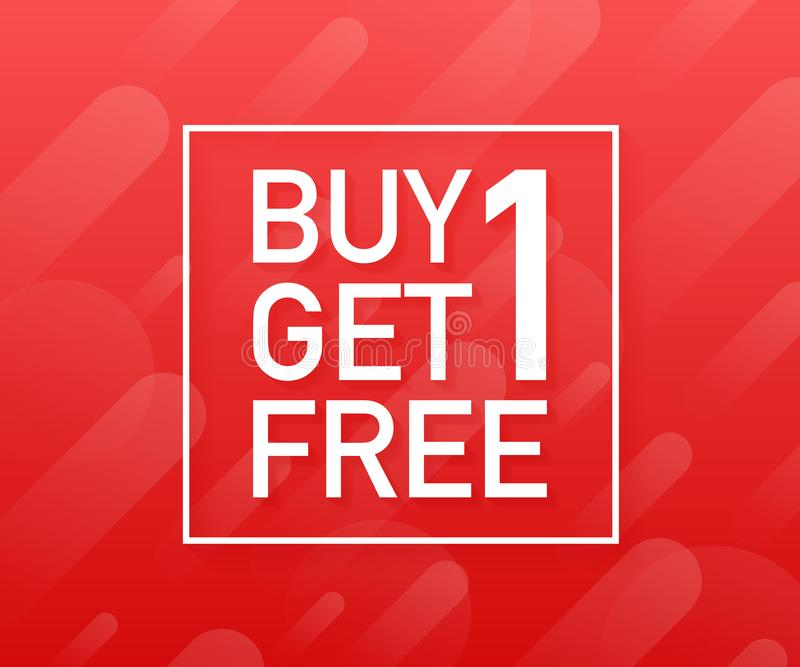 Kauf 1 erhalten 1 frei, Verkaufsumbau, Fahnenentwurfsschablone Auch im corel abgehobenen Betrag lizenzfreie abbildung