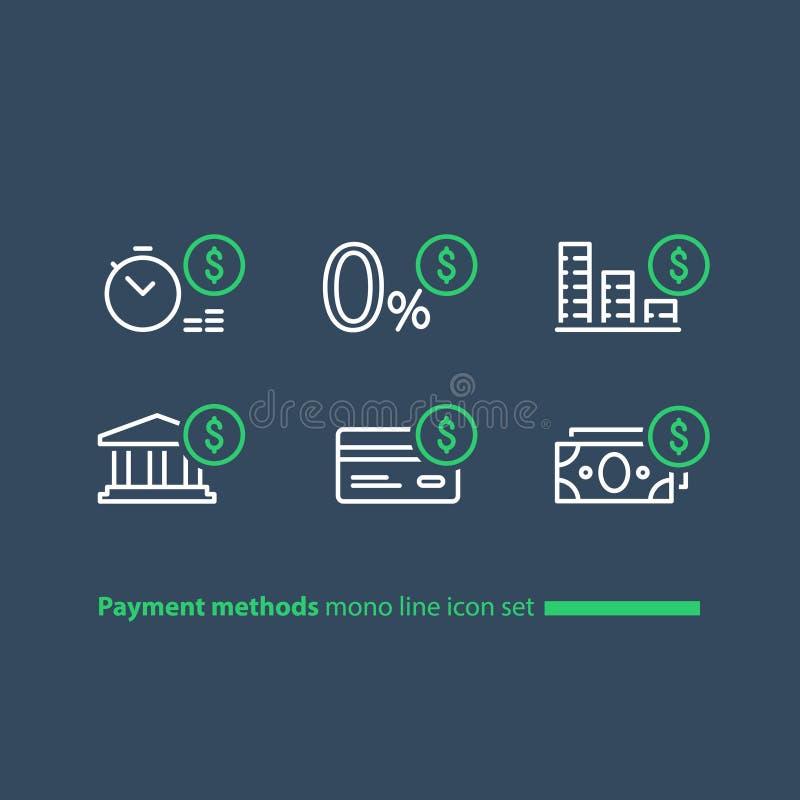 Kauf im Kreditkonzept, ZahlungsAbzahlungsplan, nullgebührenangebot, Linie Ikonen lizenzfreie abbildung