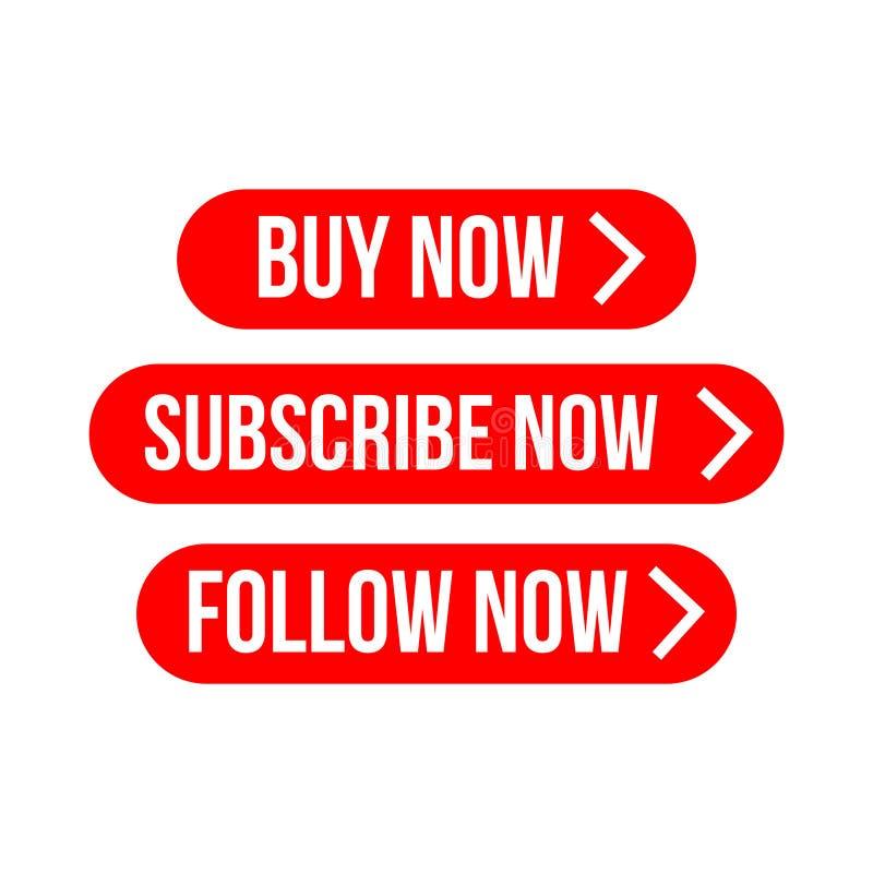 Kauf jetzt, unterzeichnen jetzt, folgen jetzt Aufkleber-Vektor-Schablonen-Design stock abbildung