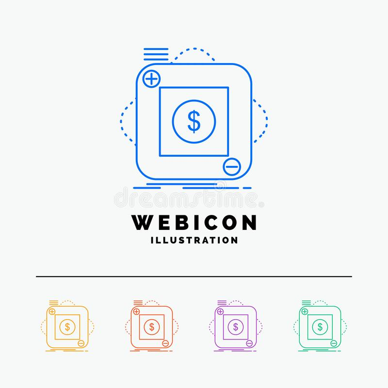 Kauf, Speicher, App, Anwendung, bewegliche 5 Farblinie-Netz-Ikonen-Schablone lokalisiert auf Weiß Auch im corel abgehobenen Betra stock abbildung