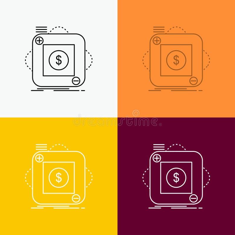 Kauf, Speicher, App, Anwendung, bewegliche Ikone über verschiedenem Hintergrund r Vektor ENV 10 stock abbildung